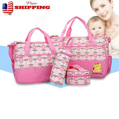 5PCS Multifunctional Baby Changing Diaper Nappy Bag Mummy Large Handbag Tote Set
