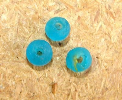 Rare! 3 Genuine Ancient Greek Glass Beads Macedonia Antuque #5