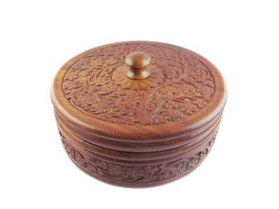 "Wooden Box With Lid Hand Carved Antique Chapati Roti Box Kitchen Decor 3"" Height"