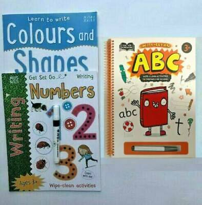 Wipe Clean Early Learning Books Letters Numbers Colours & Shapes Learn to Write