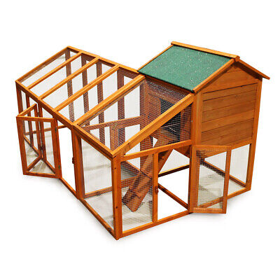 Chicken coop & run hen house poultry cage nest box with flexible free run layout