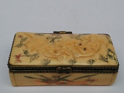 Collect Ancient China Tibet Hand-carved Vivid Lovely Cat Jewelry Box Decoration