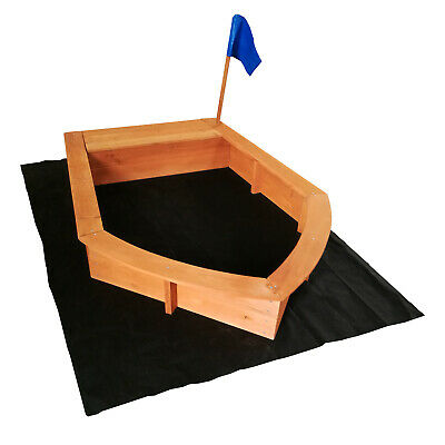 Sandpit boat 150x108x220cm wood non-woven cloth as floor outdoor sandpit box