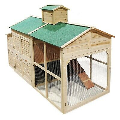 Chicken coop & run hen house poultry nest box cottage-styled with a run area