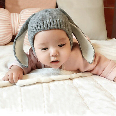 Winter Baby Rabbit Ears Knitted Hat Toddler Kids Wool Cap For Children 0-3Y