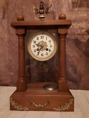Antique French Japy Freres chimney clock / 1855-1867 Grd Med Honour