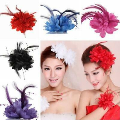 Handmade Large Lady Feather Floral Hair Fascinator Hat Headband Accessories