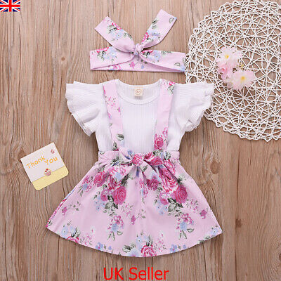 3Pcs Newborn Infant Baby Girl Floral Dress Clothes Ruffle Tops Skirt Outfits Set