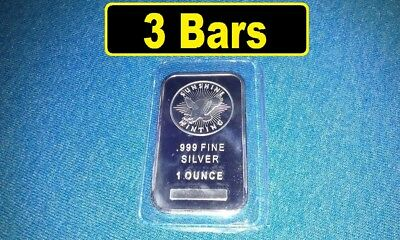 Sunshine Mint - 1 Troy oz Bars (Lot of 3) 999 Fine Silver (THREE Bars) sealed