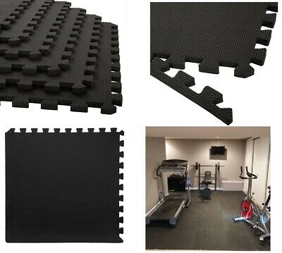 12 x Interlocking Eva Mats Soft Foam Floor Garage Exercise Play Black 48 Sq.ft