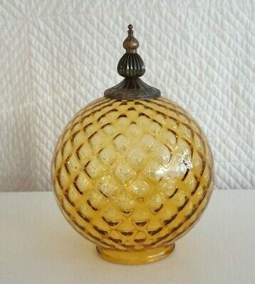 Retro Large Round Amber 20cm Glass Light Fitting Bronze Finial string lights