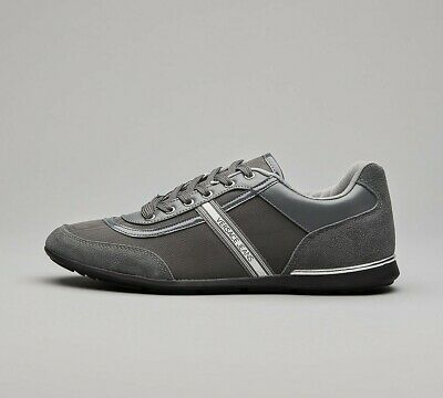 Mens Versace Jeans Tape Detail Suede Grey/Grey Trainers (SF33) RRP £119.99
