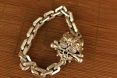 chinese old tibet silver hand carved dog individuality bracelet noble gift
