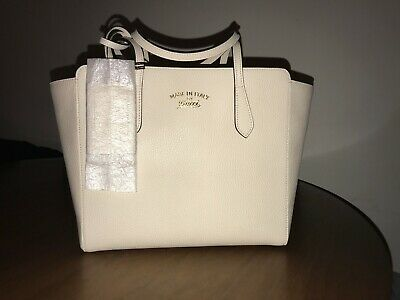 7808989b757 Gucci Swing small Leather Tote Bag in Off-White (out of stock)