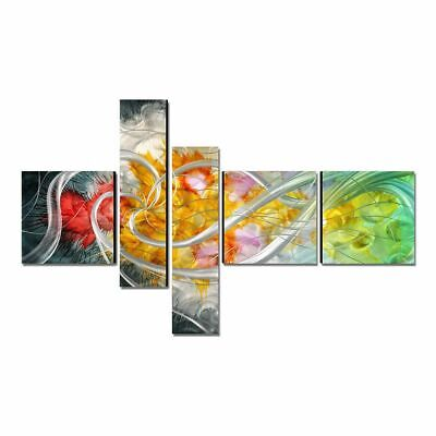 Modern Painting Hand-Painted Flower Wall Art 5 Panels Multicolor Home Decoration