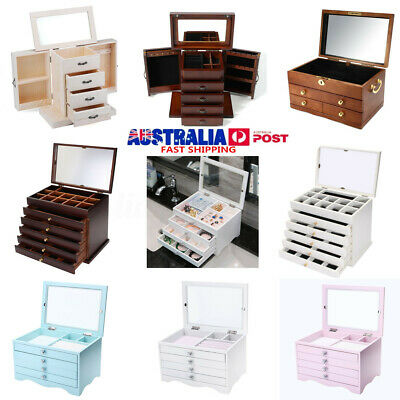 White Large Jewellery Box Display Organiser Women Necklace Ring