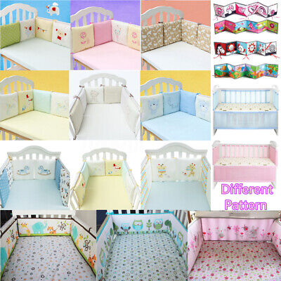 4/6Pcs Baby Infant Cotton Crib Bumper Nursery Bedding Cot Pillow Pad Protector