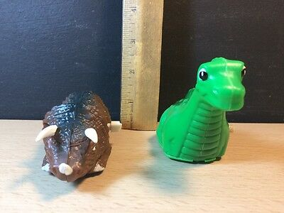 Vintage Dinosaur windup 1 HTL Green one is china work green and brown