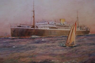 An Original Early 20thC Watercolour of the Liner 'Accra' by Wm.Minshall Birchall