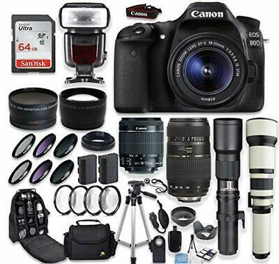 Canon EOS 80D DSLR Camera + (4) Lenses + Accessory Bundle