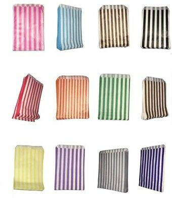 "100 Pick 'n' Mix  Color & White Candy Stripe Paper Sweet Bags Wedding 5"" X 7"""