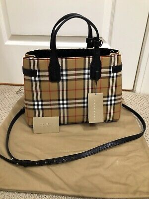 a0bb2bbb9a78 NWT BURBERRY CHECK Medium Banner Tote Bag