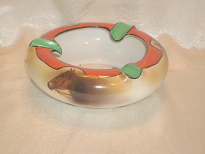 Vintage Noritake Hand Painted Horseheads Ashtray ~ Green Backstamp #27 ~ 6""