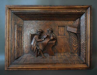 Rustic Breton Architectural 19th.C Carved Oak Wood Wall Panel of Brittany