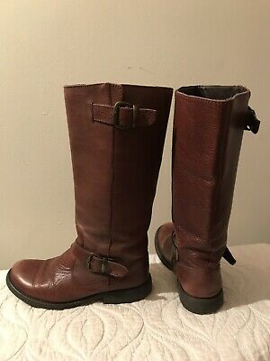 a99dfe476ca Steve Madden Brown Leather Knee High Riding Boots Womens Size 8.5M