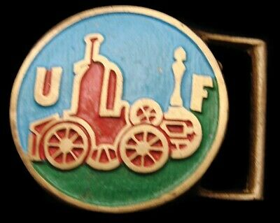QJ16151 *NOS* VINTAGE 1970s TREE OF LIFE **OLD FIRETRUCK** SOLID BRONZE BUCKLE