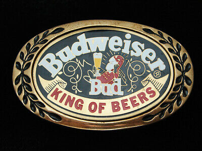 QF03150 COOL VINTAGE 1970s **BUDWEISER KING OF BEERS** SOLID BRASS BELT BUCKLE