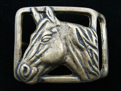 RD15124 VINTAGE 1970s **HORSE** SOLID BRASS BELT BUCKLE