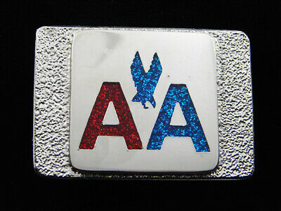 RD15146 VINTAGE 1970s **AMERICAN AIRLINES** AVIATION CHROME BELT BUCKLE