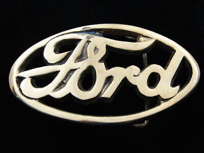 RD15142 *NOS* VINTAGE 1970s CUT-OUT **FORD** SOLID BRASS BARON BELT BUCKLE
