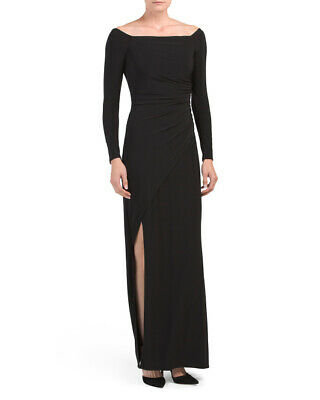b8cd4a0ebe2 NWT Laundry by Shelli Segal Size 0 Black Off The Shoulder Matte Jersey Gown  $225
