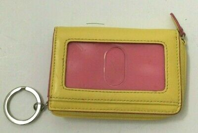 buy popular 85c34 a574b LODIS WALLET BANANA Yellow Hot Pink Credit Card Holder Zipper 4x3 Patent  Leather