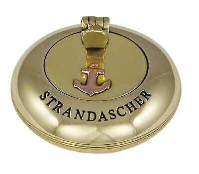 G4250: Maritime Folding Ashtray, Ashtray, Engraving Strandascher Brass 6 Cm