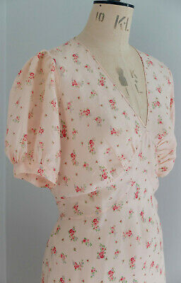 Vintage 1930s/40s sprigged pink rayon nightdress from France