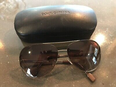 4772f7234fe D G Brown Aviator Dolce Gabbana Aviators Sunglasses Gold  180 New Exc  authentic!