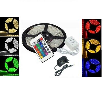 Striscia A Led Rgb Con  Alimentatore 5 Mt Bobina 5 M Strip Metri 300 5050 Ms
