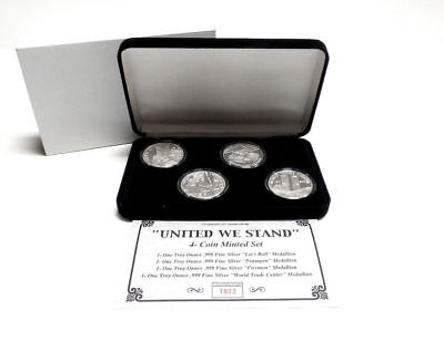 """""""United We Stand"""" 4 Coin 9-11 Medallion Set 1 oz Fine Silver"""