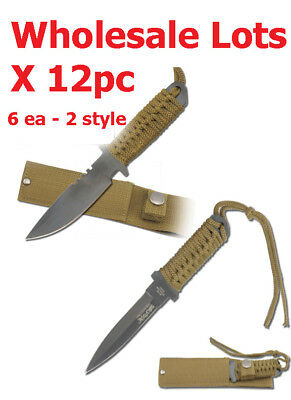 "Wholesale Lot x12 - 7-7.5"" Mini Combat Boot /Hunting/Survival Knife W/Sheath"