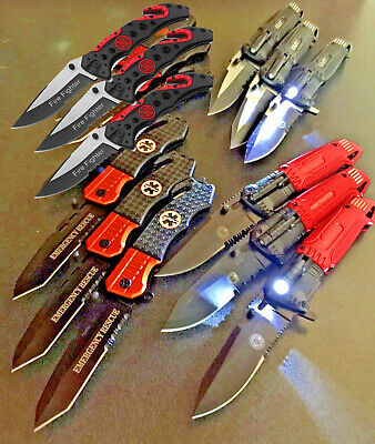 """Wholesale Lot 12Pc 8"""" Spring Assisted Tactical EMT/Fire Fighter Folding Knife"""