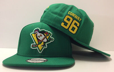 c284397389b Charlie Conway D-5 Mighty Ducks Movie Authentic Hockey Snapback Hat Cap Flat