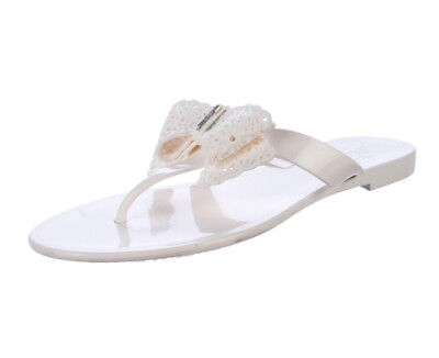 2d4b183f9867f6 Authentic Salvatore Ferragamo Jelly PVC Thong white bow Pandy Sandals sz 8