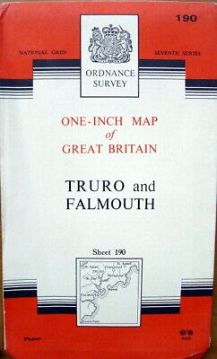 Ordnance Survey Paper One Inch Map Truro & Falmouth 7th Series sheet 190 1961