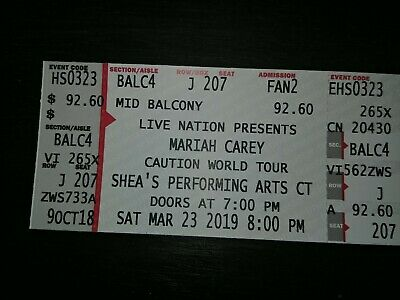 Mariah Carey Caution World Tour Shea's PAC Buffalo, NY 3/23 BALC4 Row J !