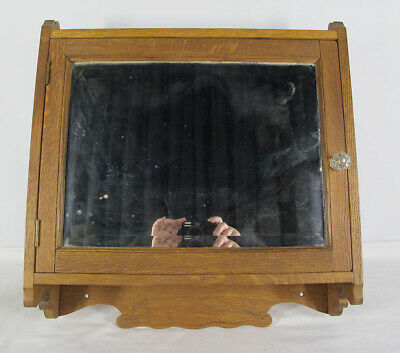 Vintage Oak Beveled Mirror Hanging Medicine Wall Cabinet Bathroom/Kitchen NR yqz