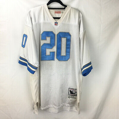 9cffdd530d2 Mitchell   Ness Barry Sanders Jersey Detroit Lions White Size 56 3XL Stained