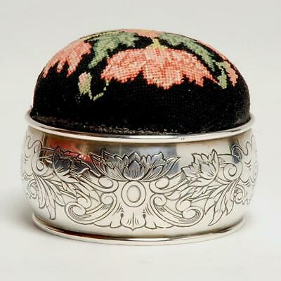 Vintage Sterling Silver & Petit Point Pin Cushion